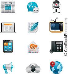 střední jakost, vektor, communication&social