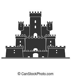 středověký, castle., věž, budova, architektura, starobylý dějiny, ., byt, vektor, ilustrace