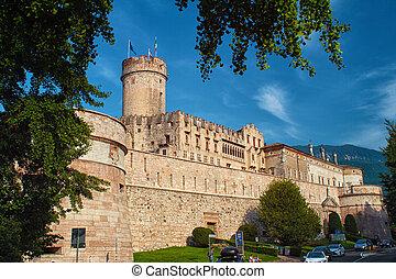 středověký, del, trento, castello, -, buonconsiglio, věž, ...