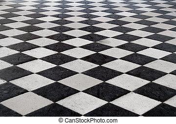 středověký, dlaždičkovaná podlaha