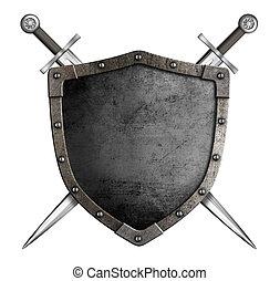 středověký, jezdec, meči, osamocený, zbraně, plášť, chránit