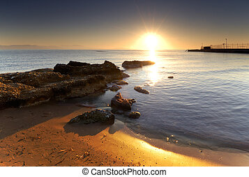 středozemský, východ slunce