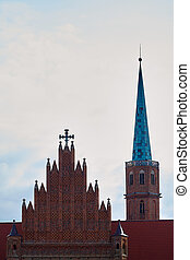 St. Adalbert's Church in Wroclaw, Lower Silesian, Poland. The oldest church on the left bank of the Odra River. Founded in 1112 for the Augustinians and later handed over to the Dominicans