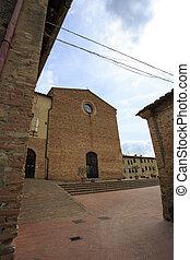 St. Agostino Church - San Gimignano Italy - Facade of the ...