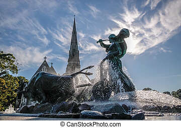 St. Alban's Church and Gefion Fountain in Copenhagen