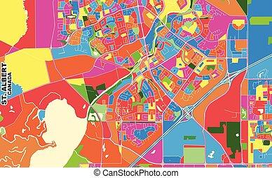 St. Albert, Alberta, Canada, colorful vector map - Colorful ...