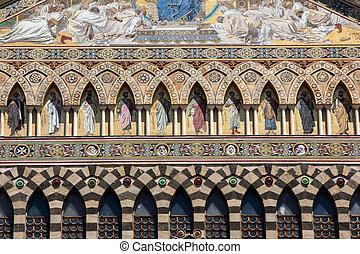 st, amalfi., front, andrzej, włochy, katedra