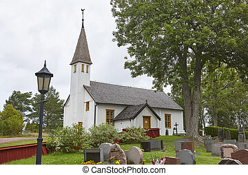 St. Andreas traditional white wooden church in Finland. Aland
