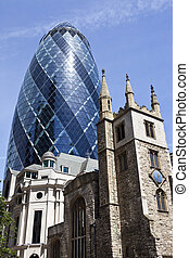 St Andrew Undershaft Church and the Gherkin in London - The...