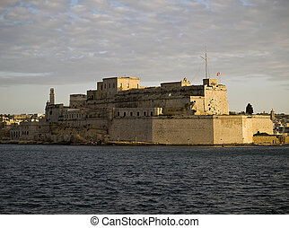 Fort St. Angelo in Grand Harbour in Malta at dusk