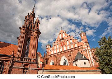 st., anne, chiesa, e, chiesa san. francis, e, bernadine, insieme, in, vilnius, lituania