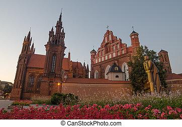 St Anne's and Bernadine's Churches in Vilnius, capital city...