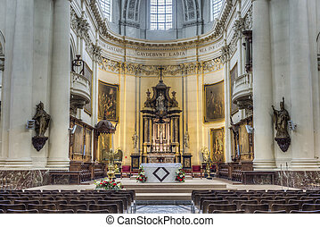 St Aubin's Cathedral, the only cathedral in Belgium in academic Late Baroque style located in Namur, Wallonia Region.