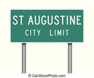 Vector illustration of the St. Augustine City Limit green road sign