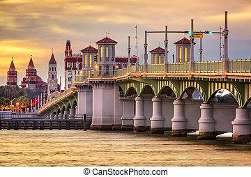 St. Augustine, Florida, USA city skyline and Bridge of Lions.