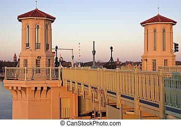 st. augustine, -, most, na, wschód słońca