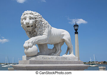 St Augustine - Lion Statue at the Bridge of Lions in St...