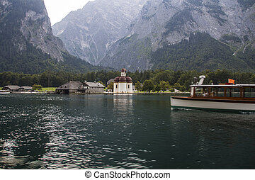 St. Bartholomew's church at Koenigssee lake near Berchtesgaden, Germany, 2015