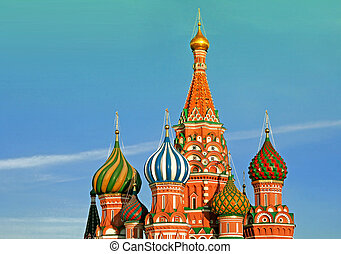 st.Basil cathedral on blue sky background