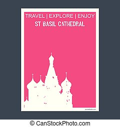 St Basil Cathedral Moscow, Russia monument landmark brochure Flat style and typography vector