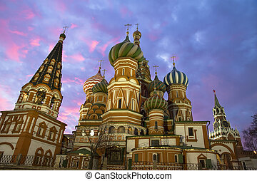 St. Basil church in Moscow, night view