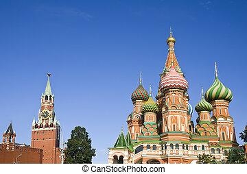 st. basilicum, kathedraal, en, spasskaya toren, in, moskou