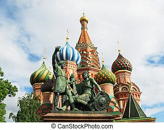 st.  basilika, domkyrka, på, den, röda fyrkantiga, moskva