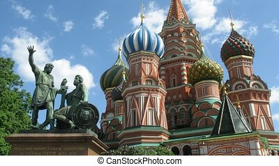 St. Basil's Cathedral and monument to Minin and Pozharsky on...