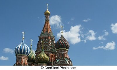 St Basils Cathedral in Red Square, Moscow. Time lapse.