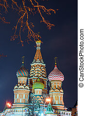 St. Basil's Cathedral on Red Square in the city center on a winter night