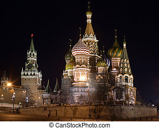 St Basils Cathedral Russia - Night view of St Basils...