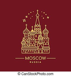 St. Basil's Cathedral vector illustration. Line art.