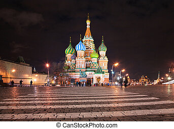 st., basil\'s, domkyrka, in, moskva, om natten