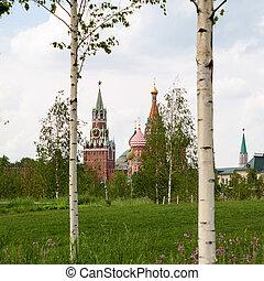 St. Basil's (Pokrovsky) Cathedral and Spasskaya tower.