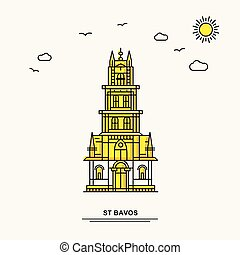 ST BAVOS Monument Poster Template. World Travel Yellow illustration Background in Line Style with beauture nature Scene