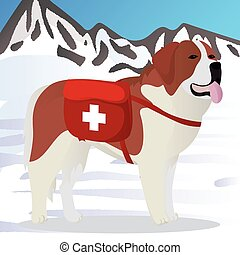 St Bernard dog lifesaver in mountains vector illustration
