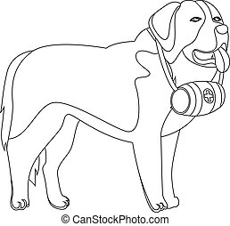 St Bernard dog lifesaver outline vector illustration
