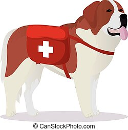 St Bernard dog lifesaver vector illustration