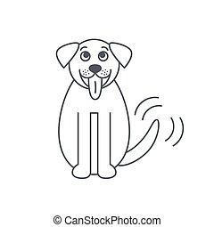 St. Bernard dog line icon. - Sitting wagging tale St....