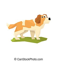 St. Bernard Rescue Dog Bright Color Simplified Geometric...