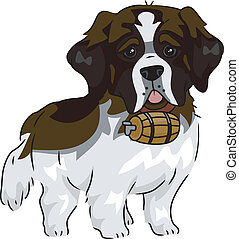 St. Bernard - Illustration Featuring a Cute and Playful St....