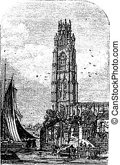 St Botolph's Church, Boston, Lincolnshire, England, UK vintage engraving