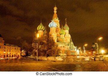 st. catedral basil, ligado, quadrado vermelho, em, night., pintura óleo, effect.