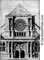St. Clotilde Andelys portal, vintage engraving. - St....