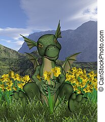 St Davids Day Baby Dragon Daffodils - Green baby dragon with...