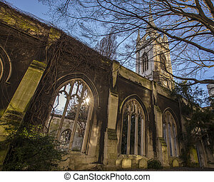 St. Dunstan in the East Church in London - The historic...