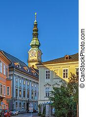 Tower of st. Egyd parish church in Klagenfurt, Austria