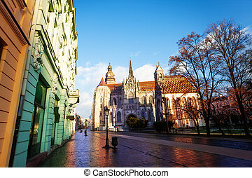 St Elisabeth cathedral view from street in Kosice, Slovakia