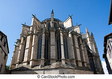 Back of the St. Etienne's church in Limoges, France