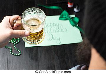 st, festeggiare, birra, uomo, bere, giorno, patrick